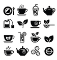 Tea and ice tea icons set vector image vector image
