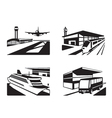Transport stations with vehicles in perspective vector image vector image