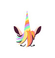 unicorn face with rainbow colored horn and hair vector image