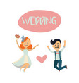 wedding card with funny couple bride and groom vector image vector image