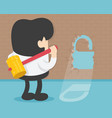 young businessman with big hammer against wall vector image vector image