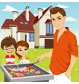 young happy father barbecuing meat on the grill vector image