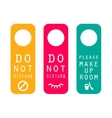 Do not disturb hotel service door tags vector image