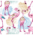 Exotic seamless pattern flowers and flamingos vector image