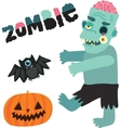 Halloween zombie monster character with pumpkin vector image