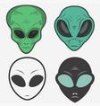 alien face icon set humanoid head vector image