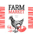 Farm market poster design template Hand drawn vector image