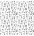 Line cocktails seamless pattern vector image