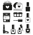 11 black and white make up silhouette elements vector image vector image