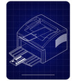 3d model of printer on a blue vector image