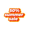 a summer discount 50 percent text for summer vector image
