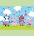 back to school education cute animals students vector image vector image