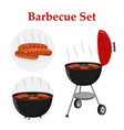 barbecue set - grill station sausage fried meat vector image vector image