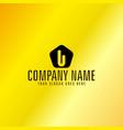 black letter u emblem with golden background vector image vector image