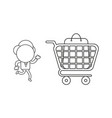businessman character running to shopping bag vector image vector image