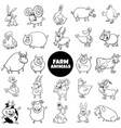 cartoon farm animal characters black and white set vector image vector image