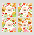 cartoon flat fast food template set vector image vector image