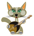 cat plays on music instrument vector image