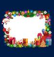 christmas frame santa gifts xmas tree and bell vector image vector image