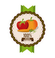 colorful logo of organic best food with tomato vector image vector image