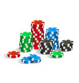 colorful red green blue and black casino chips vector image