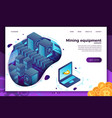 concept - cryptocurrency mining equipment vector image vector image