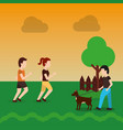 couple walking and man with dog in the park with vector image vector image