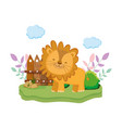 cute and little lion character vector image vector image