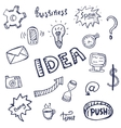 doodle icons set business vector image