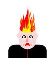 fire in head brains burn open goals vector image