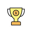 first place trophy flat color icon vector image