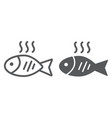 fish line and glyph icon food and animal seafood vector image vector image