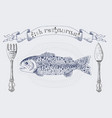 fish restaurant banner with rainbow trout vector image