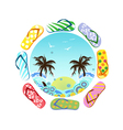 Flip Flops around summer vector image