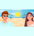 girl and guy close-up on background sand palm vector image