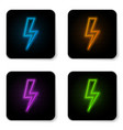 glowing neon lightning bolt icon isolated on vector image vector image