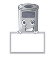 grinning with board steel trash can with lid vector image vector image