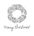 hand drawn christmas wreath vector image