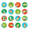 Hand holding objects flat set vector image