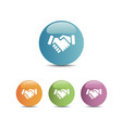 handshake icon on colored buttons vector image vector image