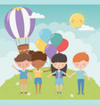 happy childrens day kids holding hands balloons vector image