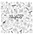 happy new year and merry christmas doodle set vector image vector image