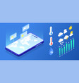 isometric weather forecast application elements vector image vector image