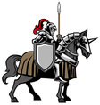 Knight with armored horse vector image vector image