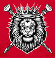 lion head king angry on red background vector image vector image