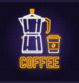 neon coffee retro sign on brick wall background vector image vector image