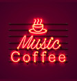 neon music coffee text icon signboard vector image vector image