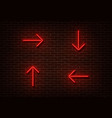 neon red arrows isolated on brick wall light dire vector image vector image