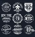 new york brooklyn typography badges set vector image vector image