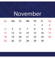 november 2018 calendar popular blue premium for vector image vector image